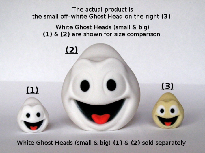 Halloween Ghost Head Smiling Off-White Small 3d printed