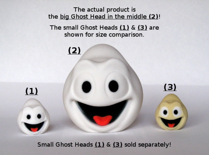 Halloween Ghost Head Smiling White Large 3d printed