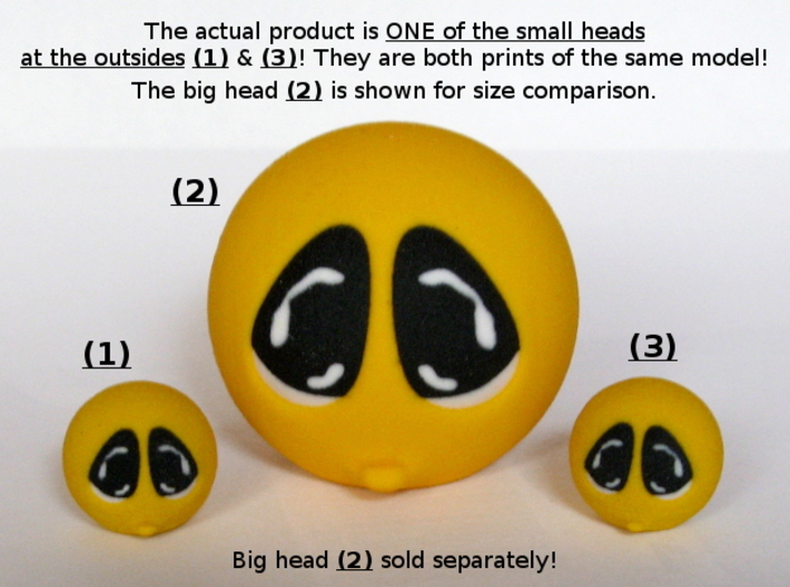 Happy Face Head Sad Small 3d printed Big head sold separately!