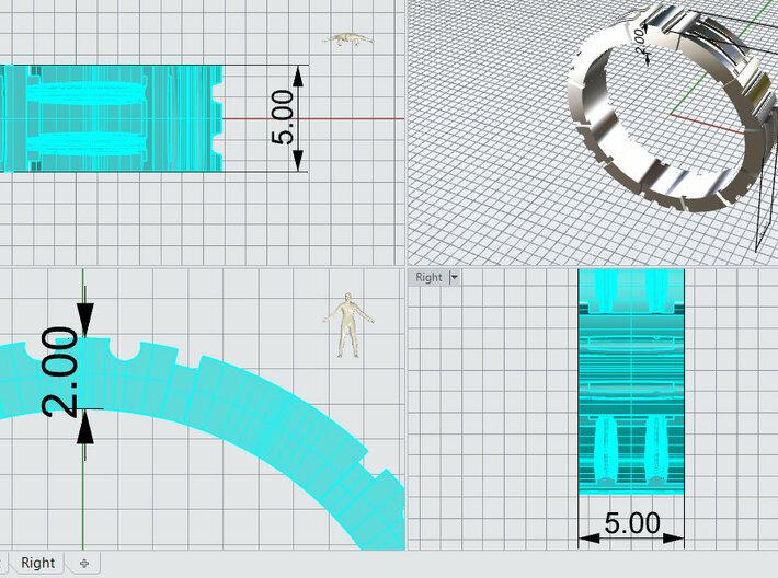 AB059 Mens Block Band 3d printed