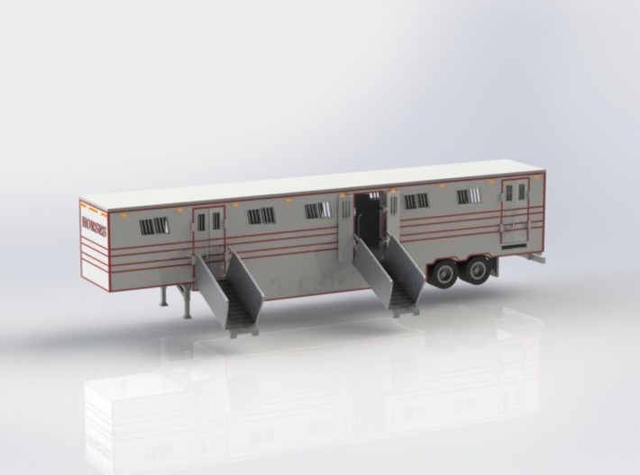 HO 1/87 Horsebox 56' Semi 02 3d printed CAD render showing Promotex chassis fitted.