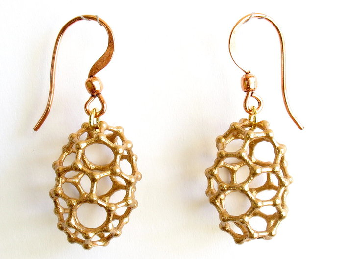 C50 Buckyball earrings 3d printed Earrings printed in bronze, with copper earwires added