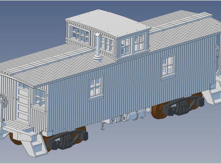 GTW Wood Caboose S Scale 3d printed