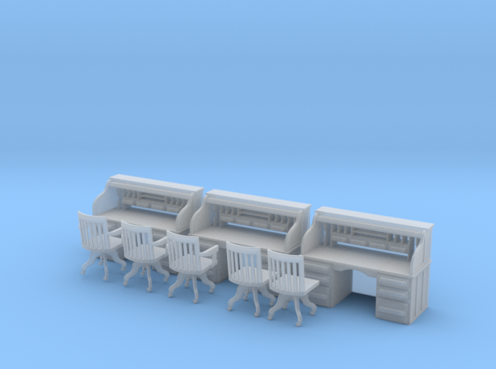 Rolltop Desks (x3) with Chairs O Scale 1/48 3d printed
