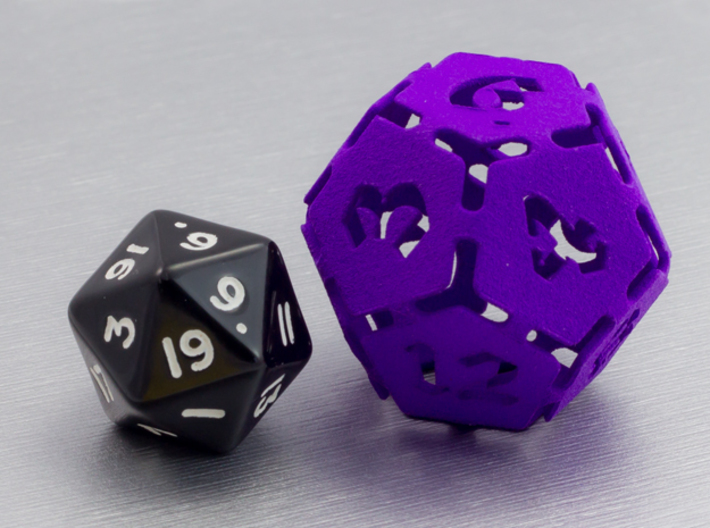 Big die 12 / d12 30mm / dice set 3d printed d12 with a traditional d20 for scale