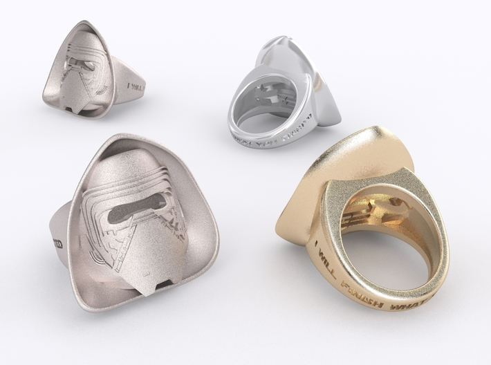 Kylo Ren Ring 3d printed Stainless Steel, Golden Plated matte & Silver render