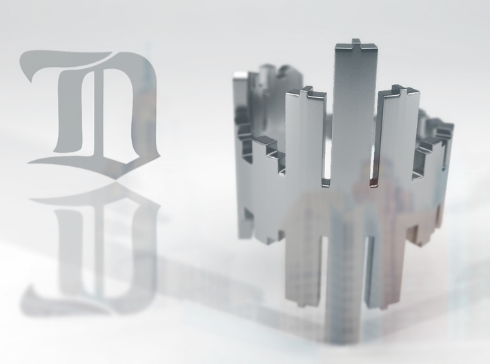 (Size 8) Detroit Skyline Reflection Ring 3d printed