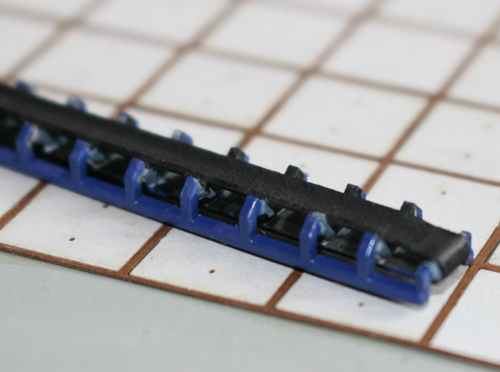 N Scale Trough Conveyor 80mm 3d printed End of a painted conveyor