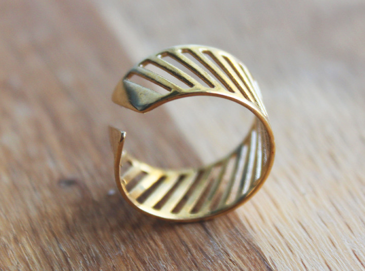 Shutter Ring - Size 8 3d printed Polished Brass