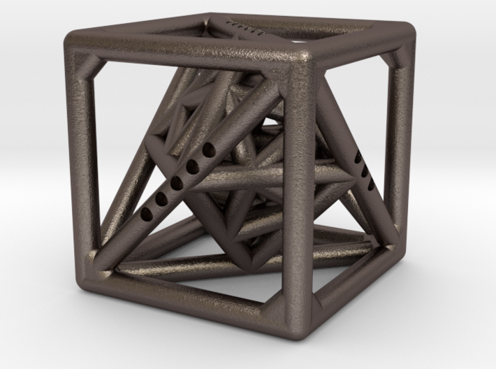 Cube with Tetrahedron, Octahedron and Icosahedron 3d printed