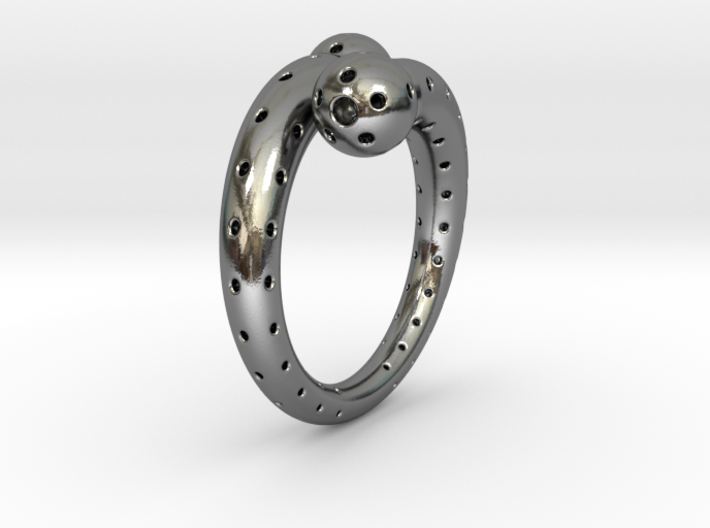 Twisted Sphere Ring 3d printed