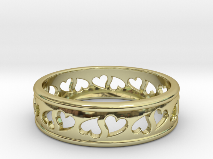 Size 7 Hearts Ring B 3d printed