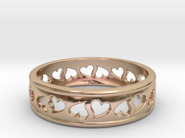 Size 8 Hearts Ring B 3d printed