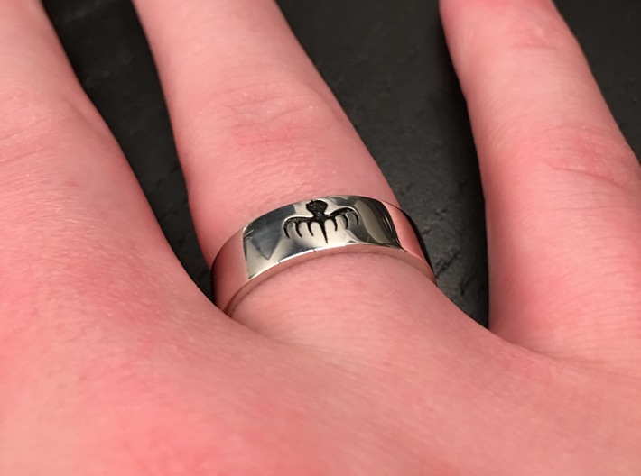 Spectre Ring - Size 11 3d printed Raw Silver, Polished and an Oil Based Black Paint Added