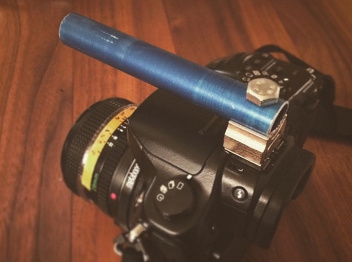 Simple Cold Shoe Rod Mount 3d printed With a short 15mm rod on a GH3.