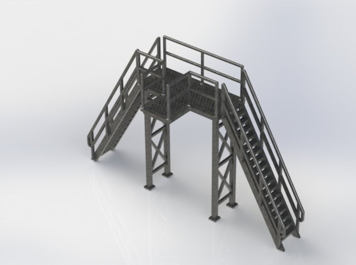 HO 1/87 Loading Platform for depot/industry 3d printed The five parts can be glued together with CA adhesive.