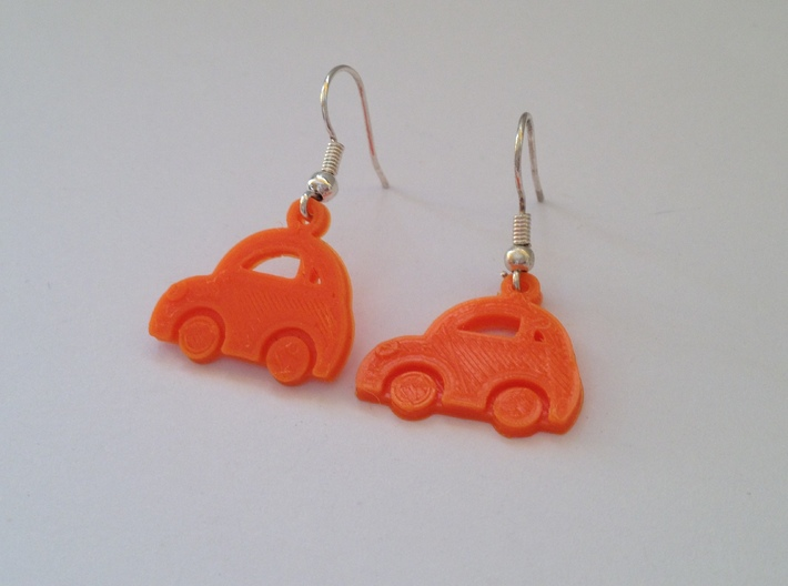 Minicooper Earrings 3d printed This is a real product shot.