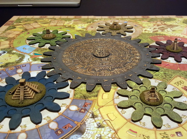 Mayan Pyramids and Calendar center (6 pcs) 3d printed White Strong Flexible, hand-painted. Photo courtesy of user JesseW (on BGG). Game cogs & board copyright Czech Games / Iello.