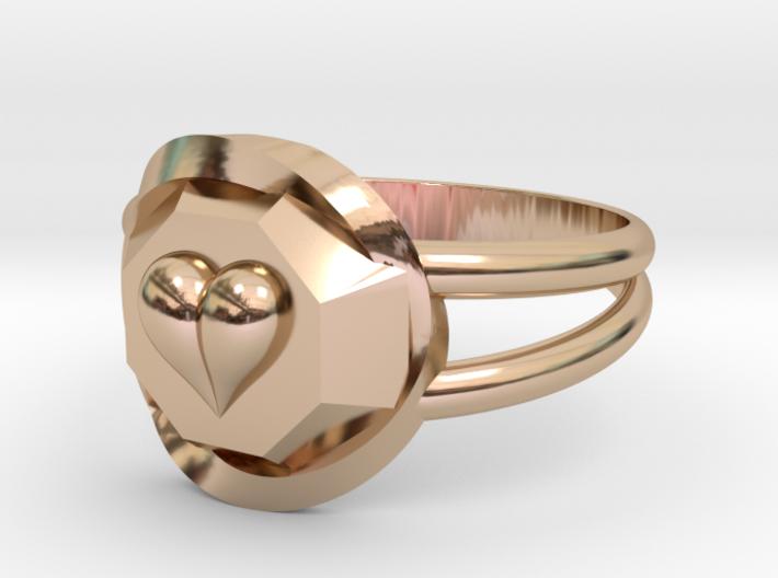 Size 8 Diamond Heart Ring F 3d printed