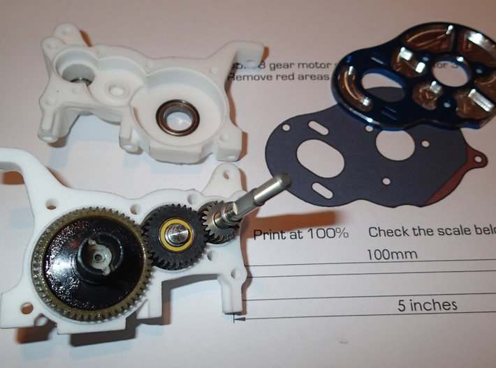 LCG 3 gear Right side gearbox for Associated B5M 3d printed