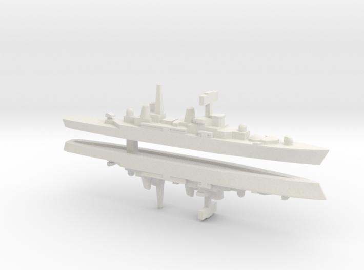 HMS Bristol x 2, 1/3000 3d printed