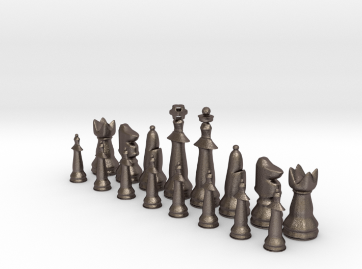 1/2 Set Modern Tournament Size Chess Piece (white) 3d printed