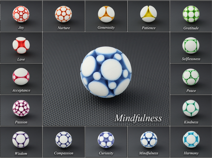 LuminOrb 1.8 - MINDFULNESS 3d printed Photograph of MINDFULNESS in Full Color Sandstone among LuminOrb Series I and II