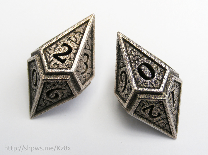Hedron D10 (v2 open) Spindown - Hollow 3d printed With two of these dice you can keep track of life totals from 1 to 100.