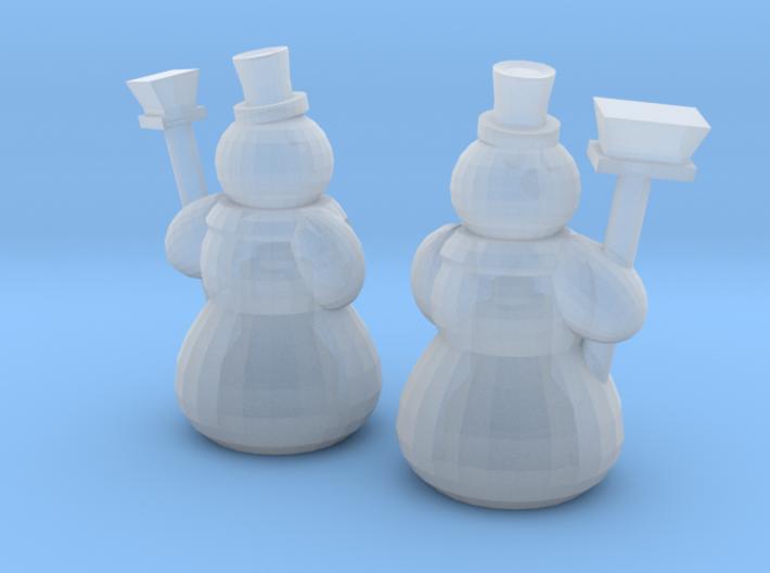 2 Snowmen (TT 1:120) 3d printed