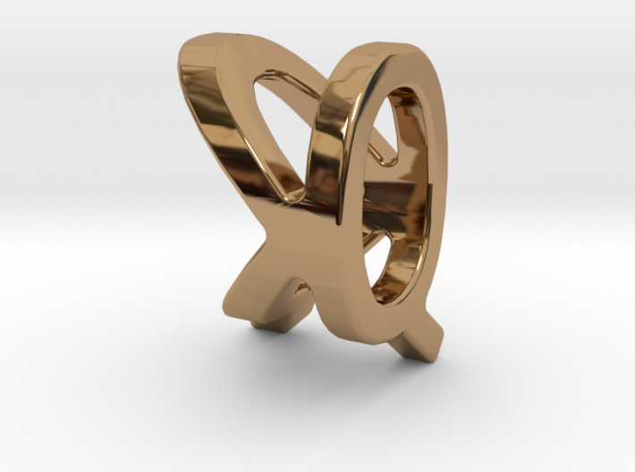 Two way letter pendant - KQ QK 3d printed