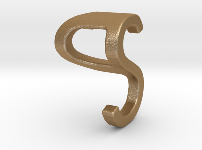 Two way letter pendant - PS SP 3d printed