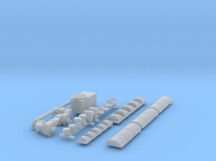 N scale Rooftop Detail Set 27pc 3d printed