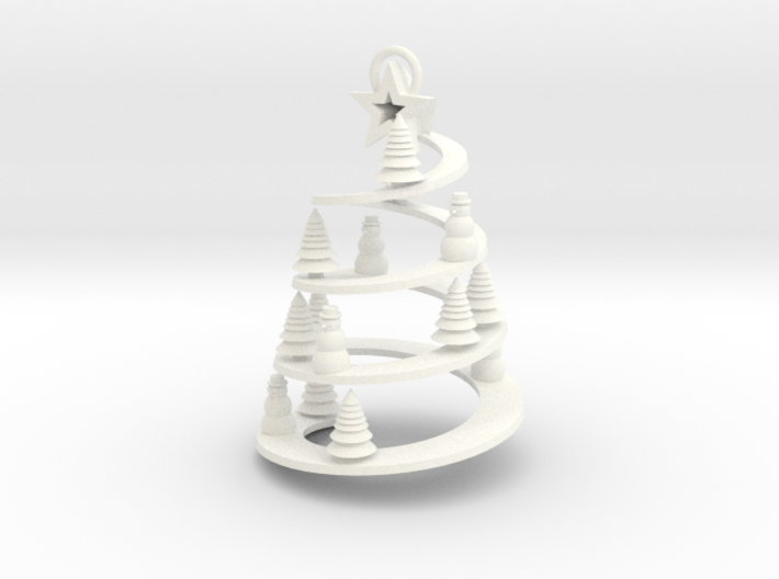 Spiral Tree Christmas Ornament 3d printed
