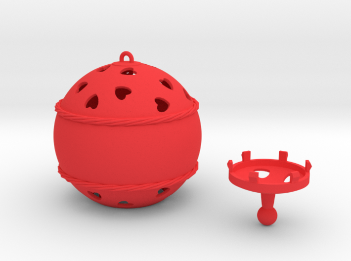 DRAW ornament - hearts large 2 piece personalize 3d printed