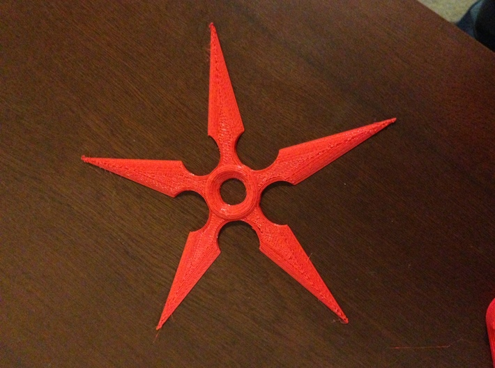Ninja Star 2 Half 3d printed A simple FDM print done on an Ultimaker to show how it is printable and what it would look like. This is PLA.