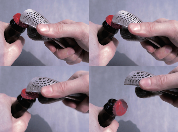 Zisch... Bottle Opener with perforated pattern 3d printed
