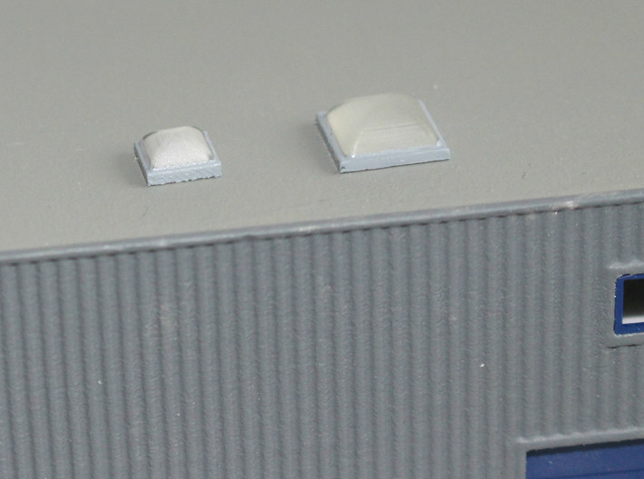10x Skylight Size 1 3d printed Skylights size 1 (left) and 2 (right) on a N scale building
