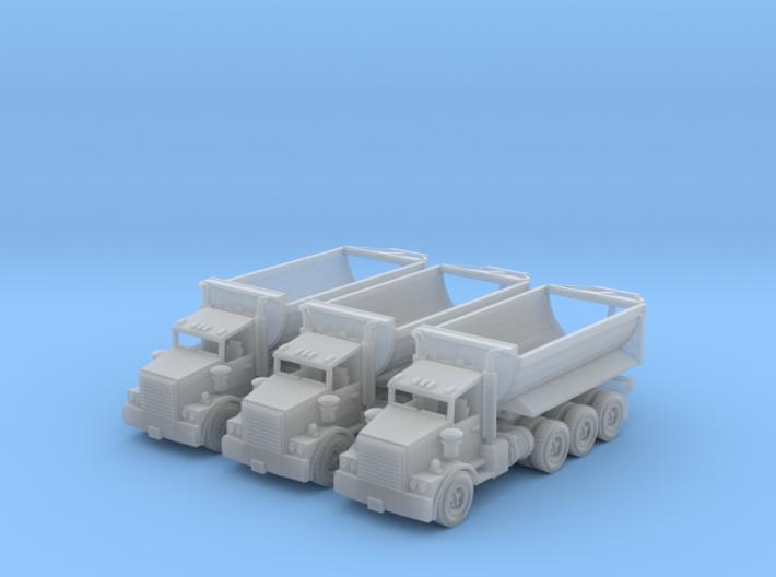 Tri Axle Cylinder Dump Truck N Scale 3d printed 3 tri Axle cylinder dump trucks N scale