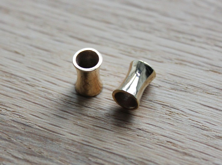 5 mm tunnels 3d printed 18k Gold Plated 5 mm tunnels