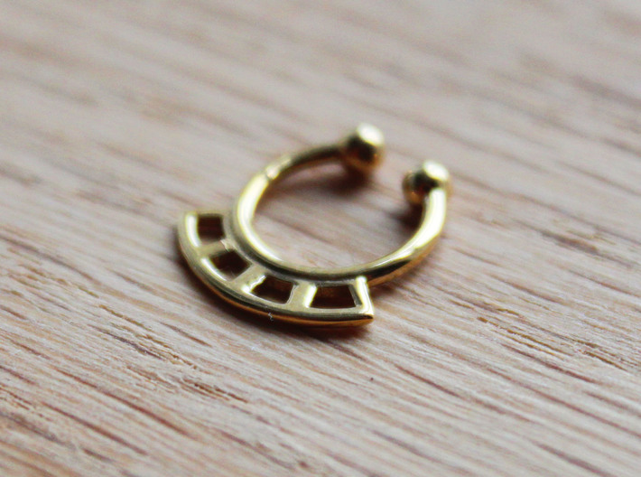 Septum Ring Test 3d printed Septum ring in Polished Brass
