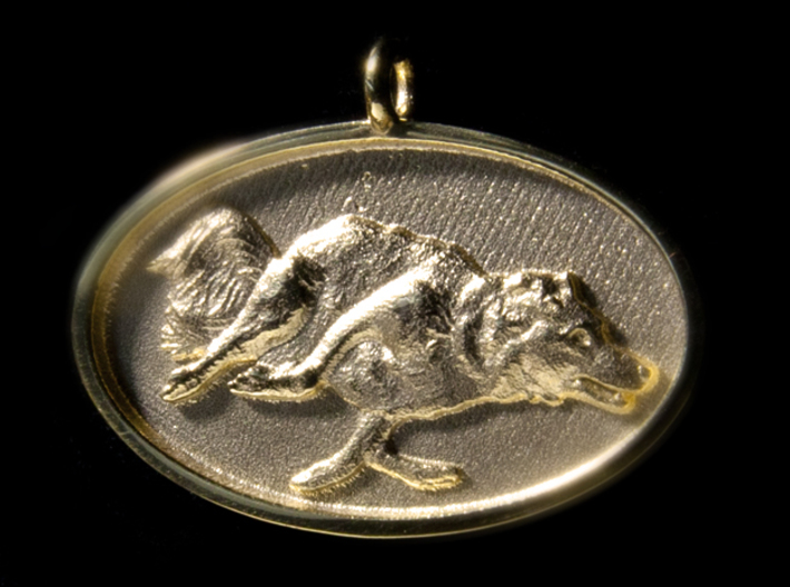 """Agility Dog Pendant - 1 1/4 """" Border Collie. 3d printed 18k Gold Plated, PHOTO, 35mm."""