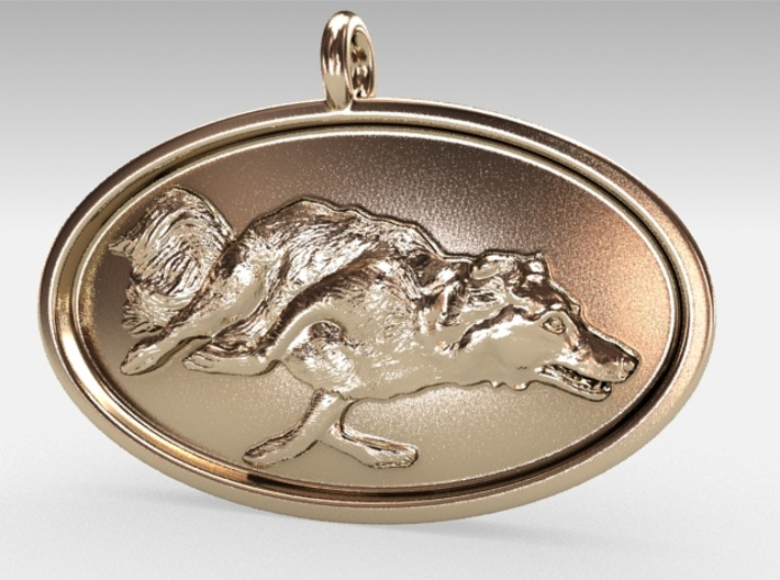 """Agility Dog Pendant - 1 1/4 """" Border Collie. 3d printed My own 18k Gold Plated RENDER, just to show model."""