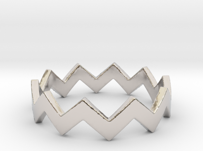 Zig Zag Wave Stackable Ring Size 6 3d printed