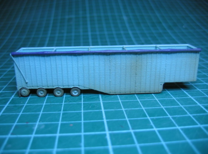 N scale 1/160 Woodchip trailer 53ft possum-belly 3d printed A painted model.