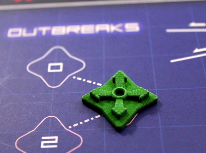 Pandemic Outbreak Marker -- Legacy Board Design 3d printed Photo on Pandemic Legacy game board in green strong & flexible