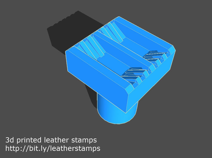 Leather stamp 2, with double lines weaving pattern 3d printed