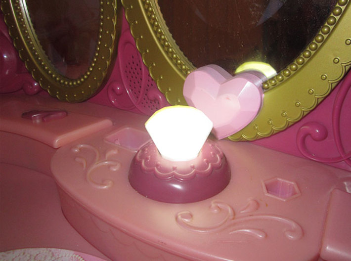 Diamond Disney Vanity 3d printed White PLA is semi-translucent and allows the led light come through.