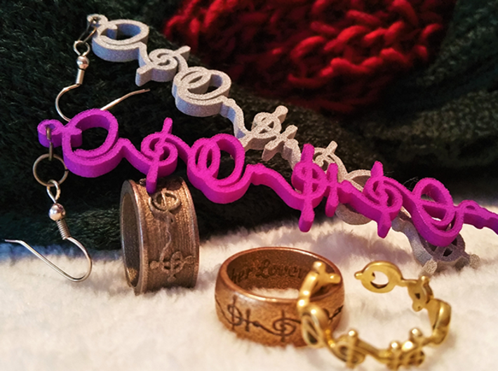 """""""T'hy'la"""" (Friend/Brother/Lover) Vulcan Necklace 3d printed Pictured: Purple Plastic, Metallic Plastic as earrings; with various T'hy'la Rings"""