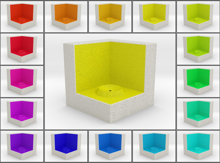 LuminOrb 1.7 - Cube Stand 3d printed Shapeways render of Cube Display Stand for PATIENCE in Full Color Sandstone