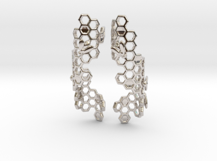 Bees and Honeycomb Earrings 3d printed